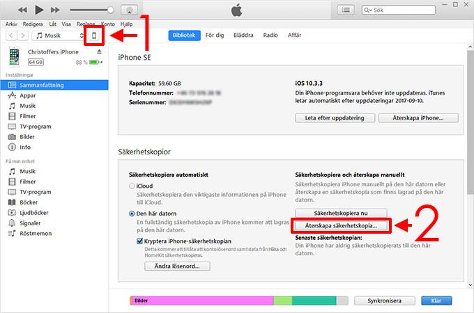 iTunes - Återskapa Säkerhetskopia - iPhone - Glömd - Lösenkod