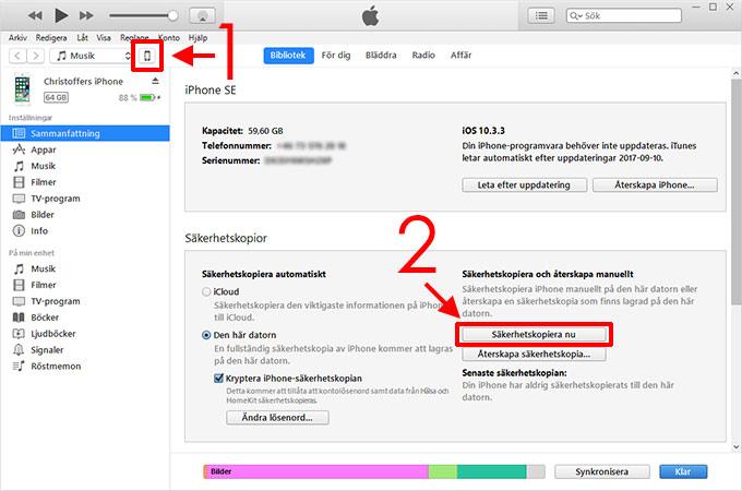 iTunes - Säkerhetskopiera - iPhone - iPad - Glömt koden