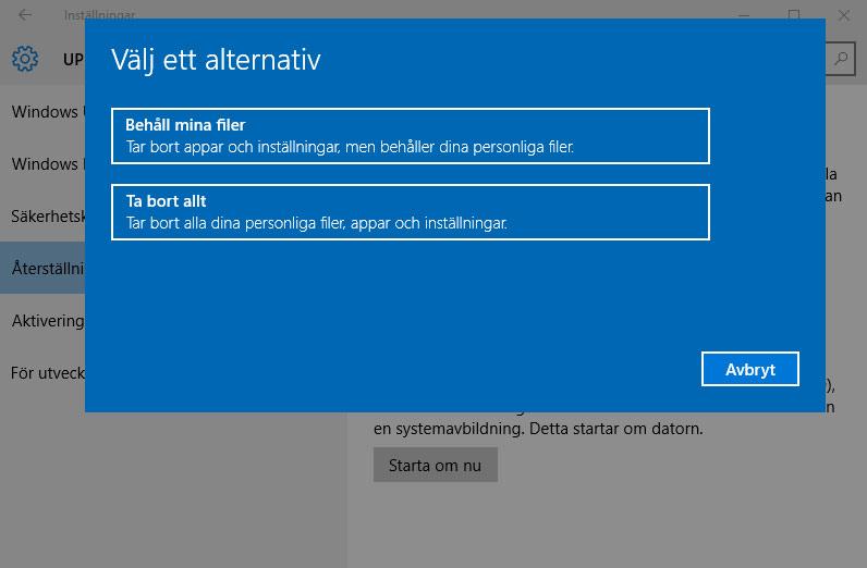 Windows 10 - Återställ - Ta bort allt