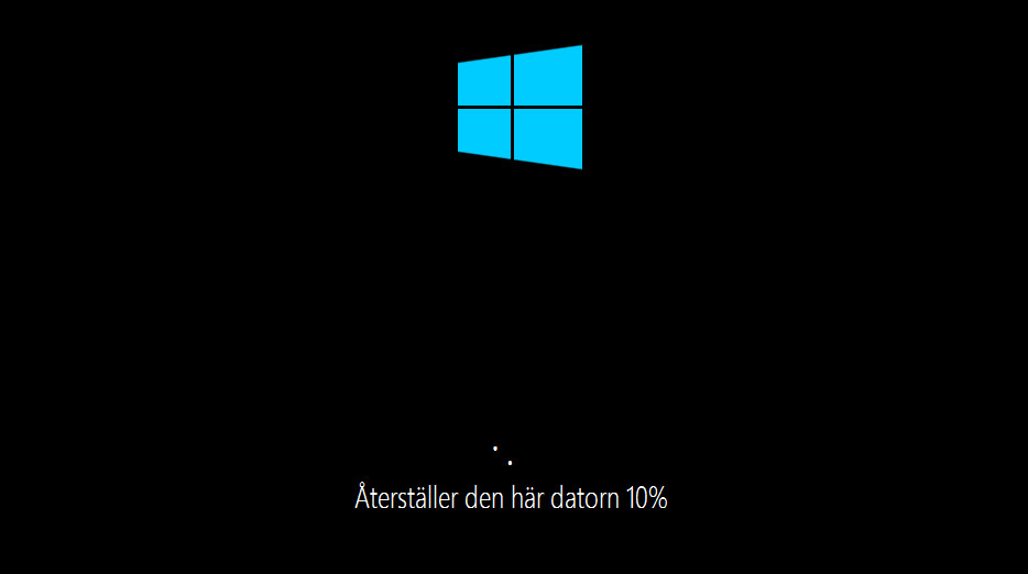 Fabriksåterställning Windows 10 - Återställer den här datorn