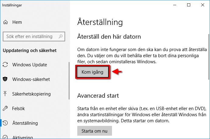 Windows 10 - Återställning - Kom igång - Inställningar