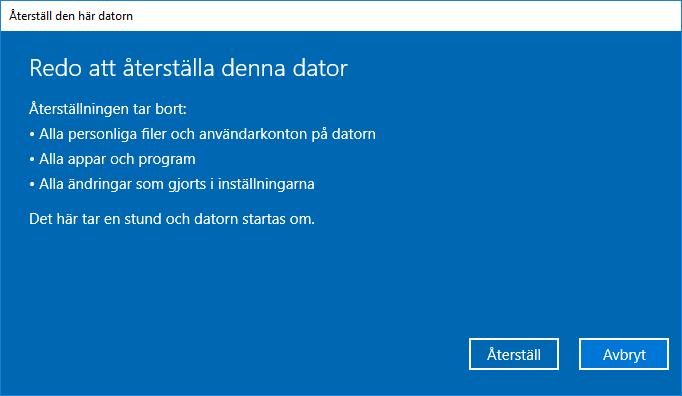 Windows 10 - Reda att återställa denna dator - Återställ