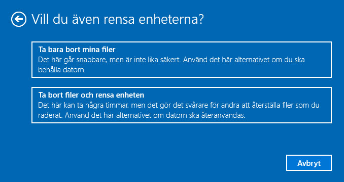 Windows 10 - Ta bort filer och rensa enheten