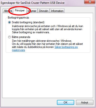 Principer Skrivcache - Avaktiverat Windows
