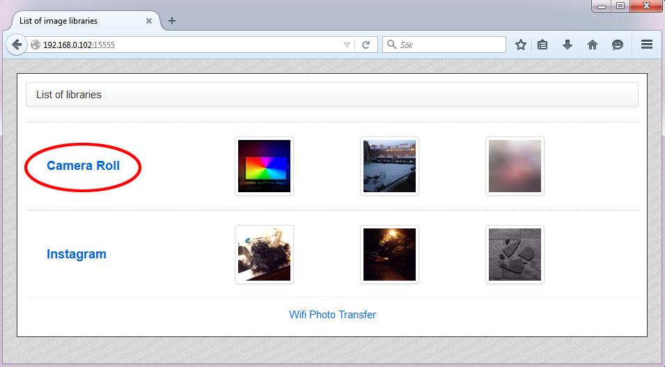 WiFi Photo Transfer - Trådlöst från iPhone Camera Roll