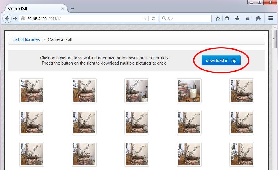 Välj flera bilder att hämta trådlöst från iPhone, iPad