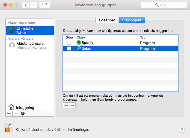 Autostart Mac OS X - Startobjekt - Lägg till Program