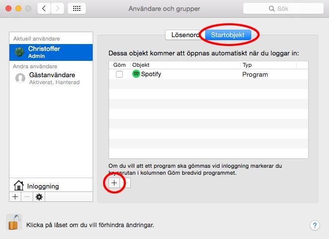 Autostart Mac OS X - Startobjekt - Lägg till