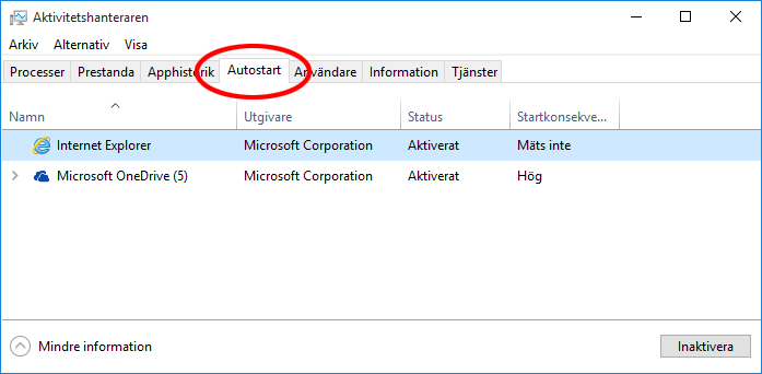 Autostart Windows 10 - Aktivitetshanteraren - Information om Autostart