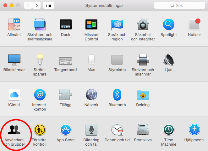 Autostart Mac OS X - Systeminställningar - Användare och Grupper