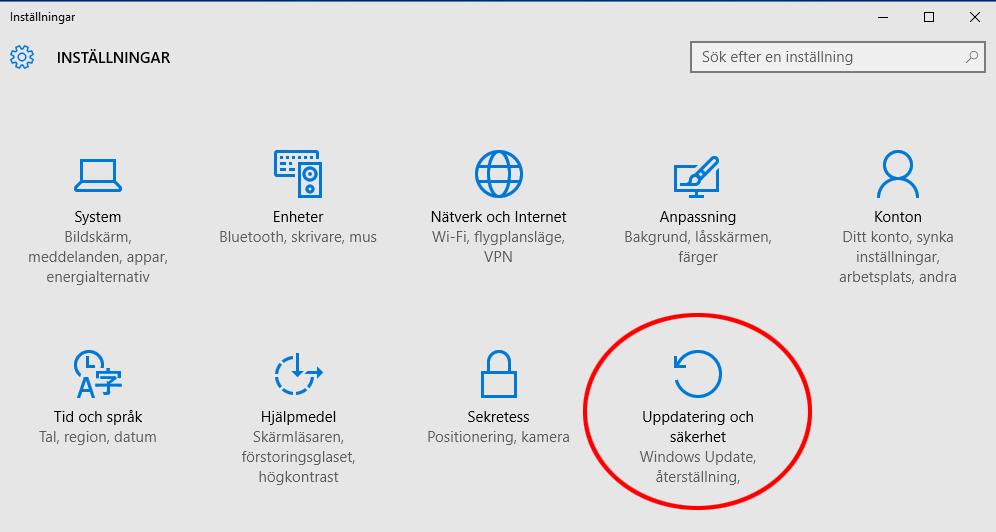 2. Uppdatering och säkerhet - Windows 10 - Felsäkert läge