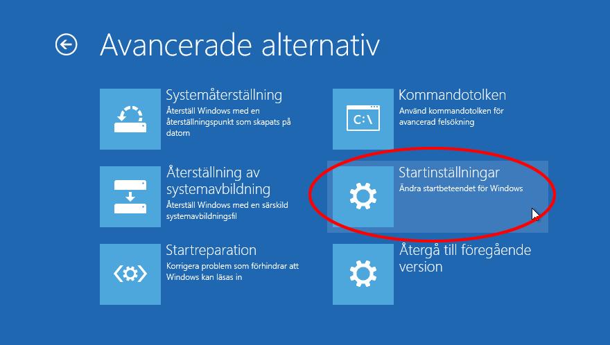 6. Startinställningar - Felsäkert läge - Windows 10