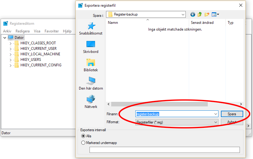 Gör backup på registret i Windows 10 - Regedit