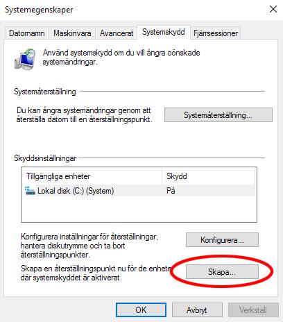 Skapa systemåterställning - Systemegenskaper - Windows 10