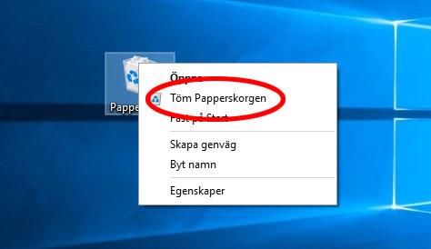 Windows - Töm papperskorgen för att frigöra diskutrymme