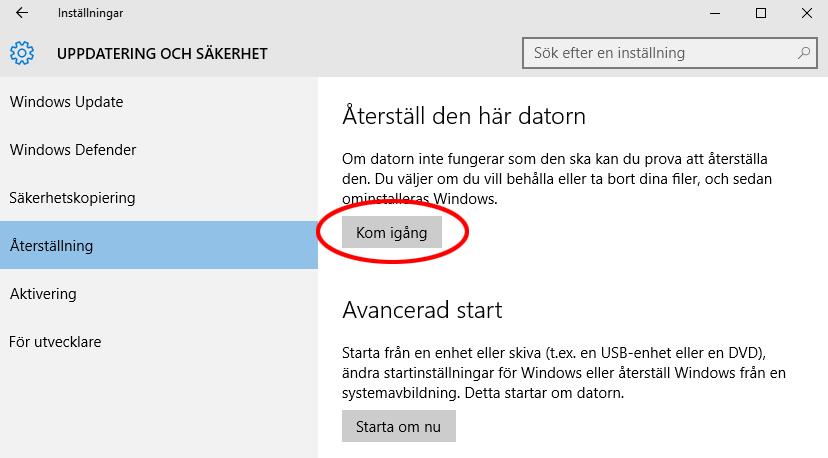 Windows 10 - Återställ datorn till fabriksinställningar