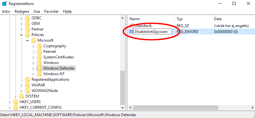 Windows 10 - Registret - DisableAntiSpyware