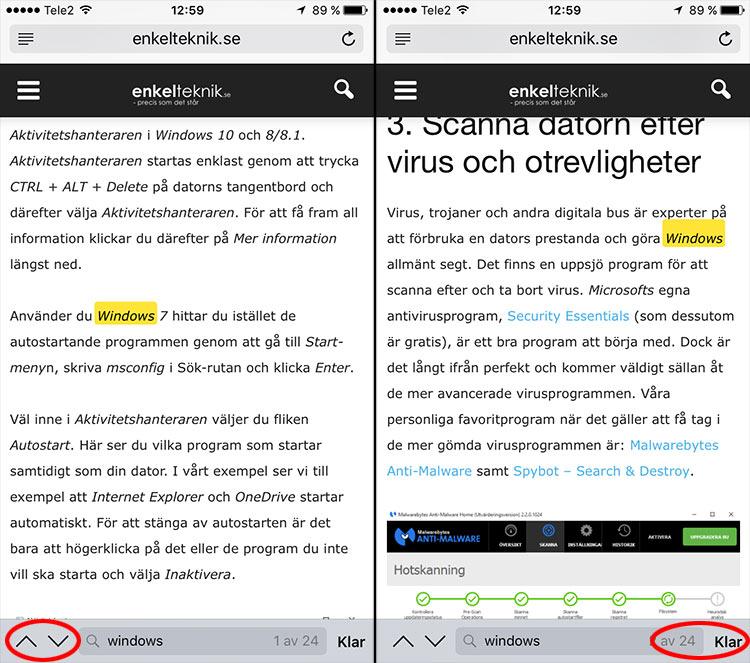 Avsluta - Sök efter specifikt ord - iPhone, iPad, Safari