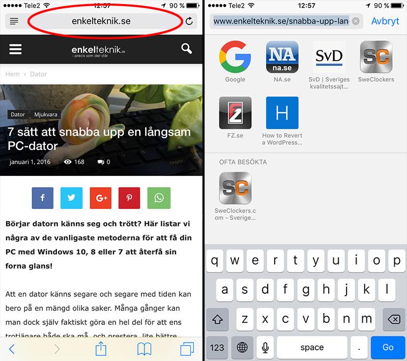 Klicka i adressfältet - iPhone Safari - Sök på webbsida