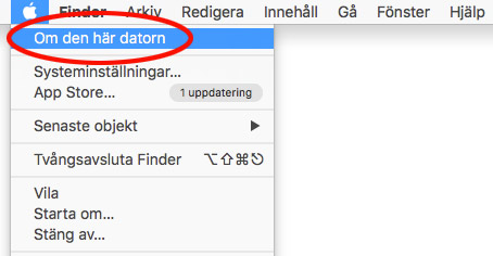 Mac OSX - Om den här datorn - Se ledigt hårddiskutrymme