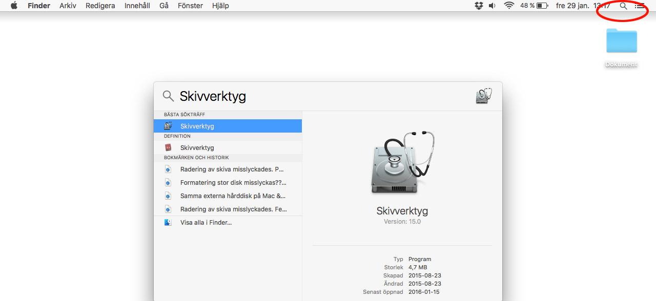 Mac OSX - Skivverktyg - Se ledigt hårddiskutrymme
