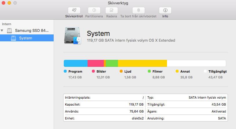 Skivverktyg - Mac OSX - Vad tar upp hårddiskutrymme