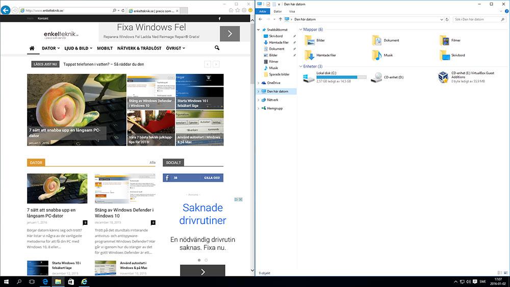 Sortera fönster i Windows 10 - Snap - Två fönster bredvid varandra