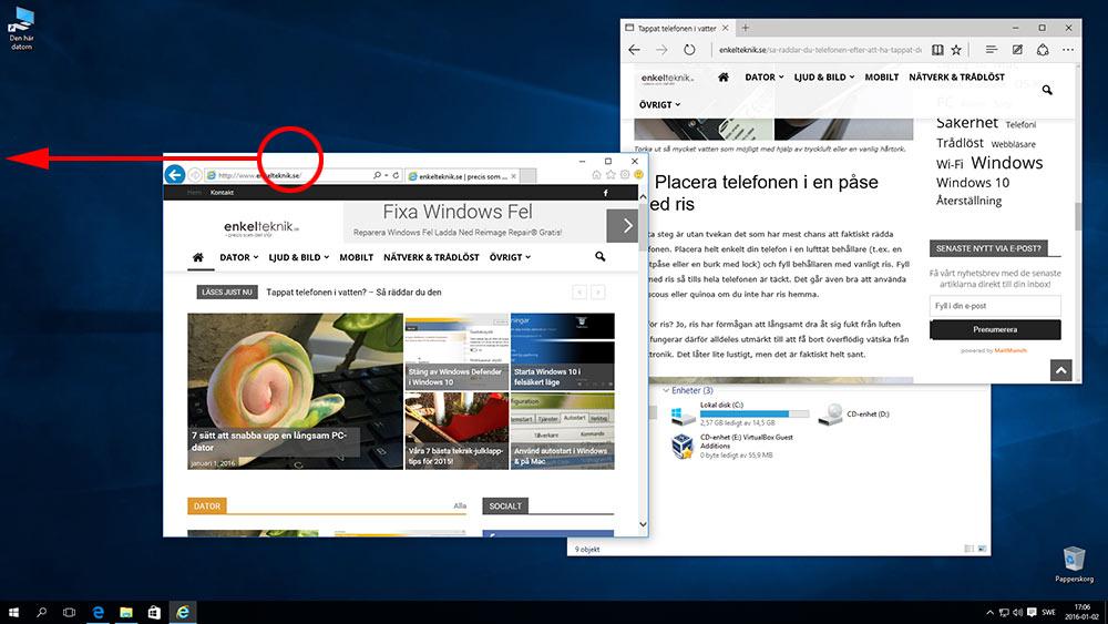 Sortera fönster i Windows 10 - Snap - Dra fönster åt ena sidan