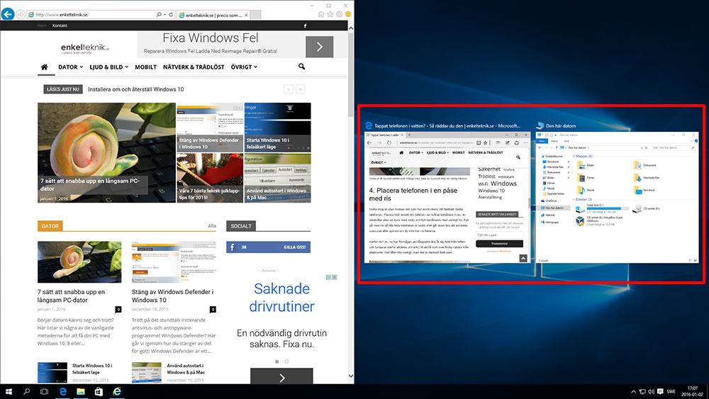 Sortera fönster i Windows 10 - Snap - Två fönster - Välj fönster automatiskt