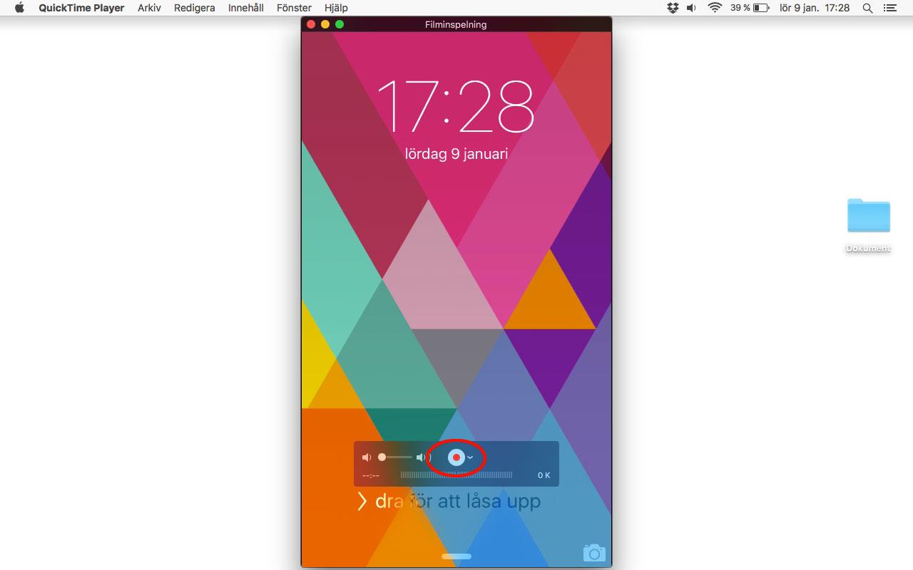 Starta inspelning av iPhone / iPad skärm - Spela in