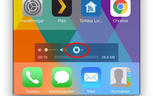 Stoppa inspelningen av iPhone eller iPad