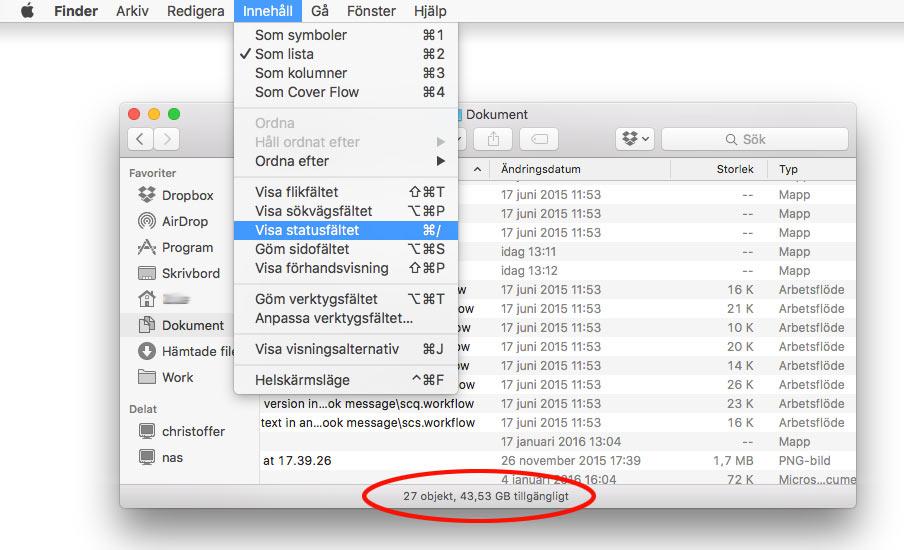 Visa statusfältet - Mac OSX - Se hårddiskutrymme