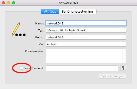 Attribut - Visa lösenord i Mac OS X - Wi-Fi-nätverk