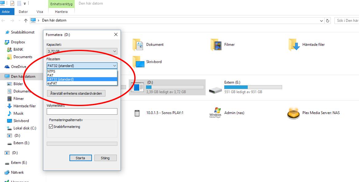 Formatera USB-minne, Hårddisk - Windows- Välj format