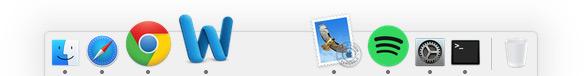 Mac Dock med mellanrum - OS X