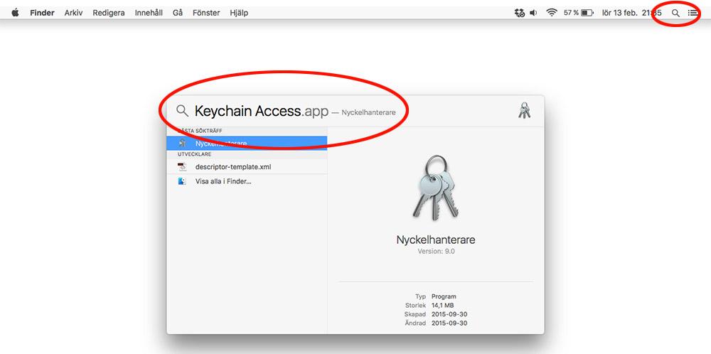 Mac OS X - Keychain Access - Nyckelhanterare - Wi-Fi-lösenord