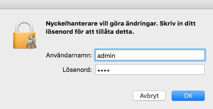 Mac OS X - Nyckelhanterare - Tillåt