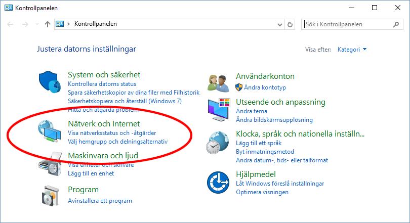 Windows 10 - Nätverk och Internet - Se Wi-Fi-lösenord