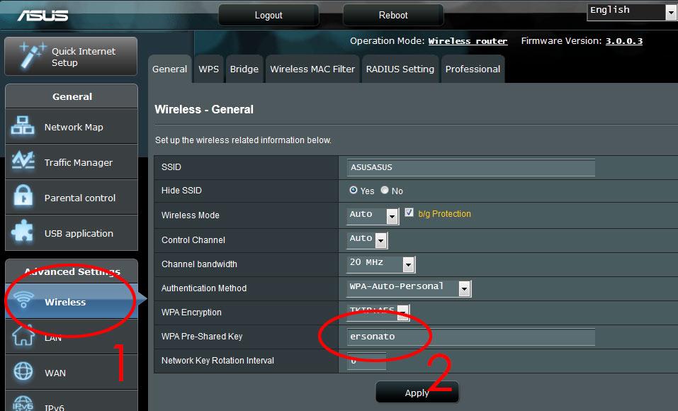 Router - Asus - Nätverksinställningar- Wi-Fi-lösenord