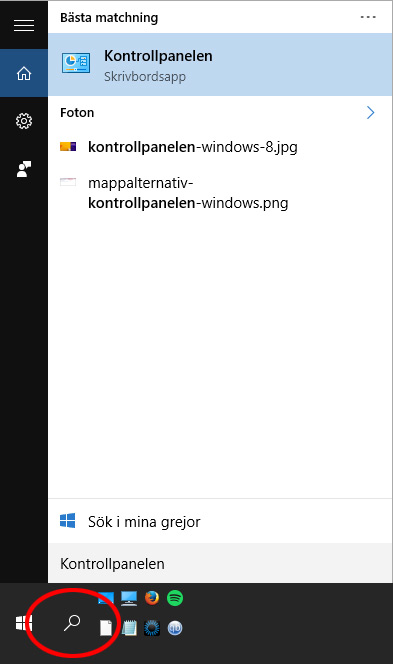 Windows 10 - Sök Kontrollpanelen - Nätverk - Wi-Fi