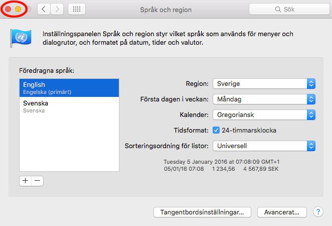Stäng Språk och region - Mac OS X