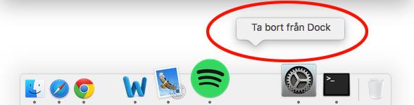Ta bort mellanrum i Dock - Mac OS X