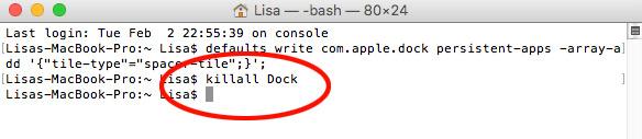 Terminal - killall Dock - Starta om Dock - Mac OS X