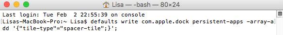 Mac OS X - Terminal - Kod - Skapa mellanrum Dock
