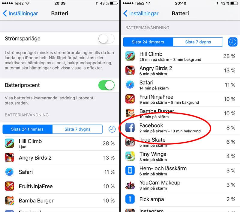 iPhone - iPad - Batterianvändning - Klicka på app - Visa mer info