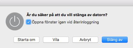 Mac OS X - Håll in ström/av/på-knappen - Är du säker