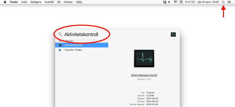 Mac OS X - Starta Aktivitetskontroll (Aktivitetshanteraren på Mac)