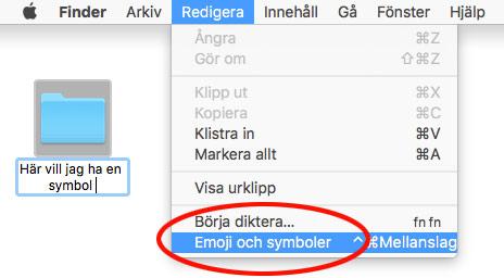 Mac - Redigera och infoga emoji och symboler