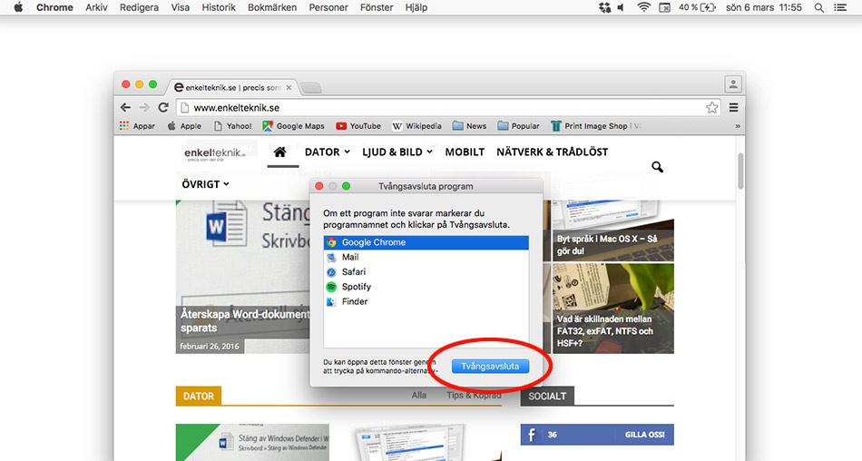 Tvångsavsluta med Alt + F4 - Cmd - Alt - Esc - På Mac OS X