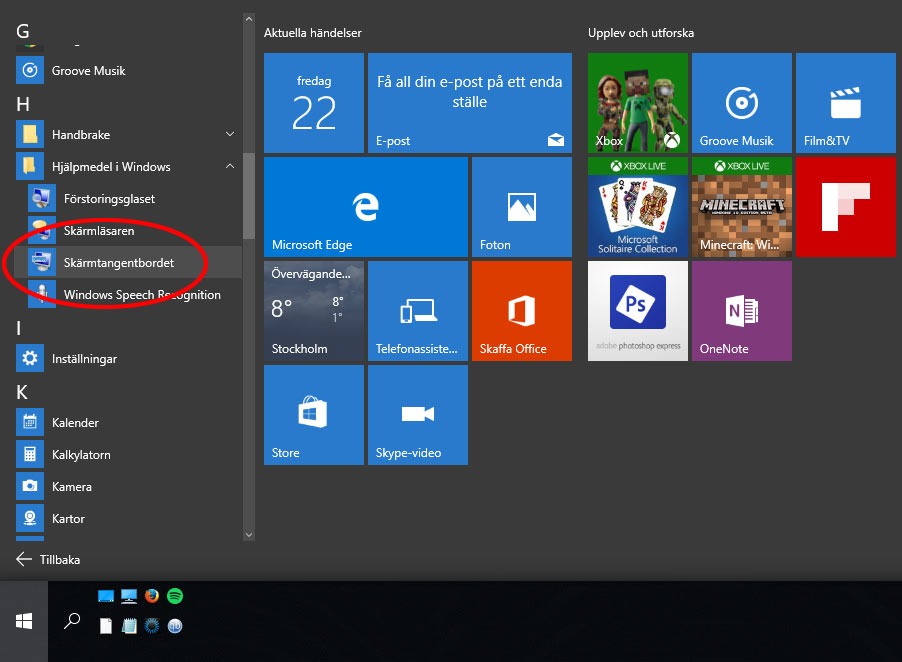 Alla appar - Hjälpmedel - i Windows 10 - Skärmtangentbordet